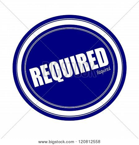 an images of REQUIRED white stamp text on blue