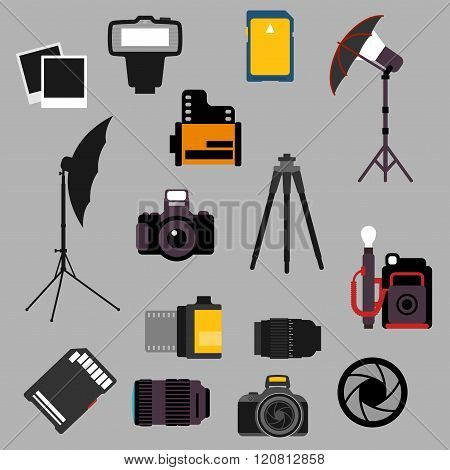 Photographic equipment and devices flat icons