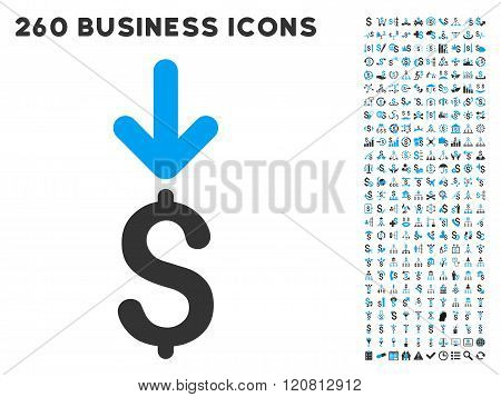 Income Dollar Icon with Flat Vector Set