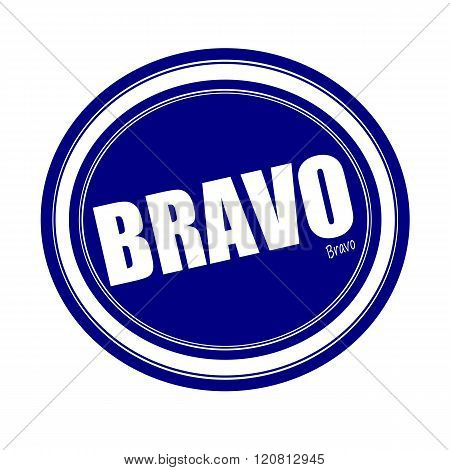 an images of BRAVO white stamp text on blue