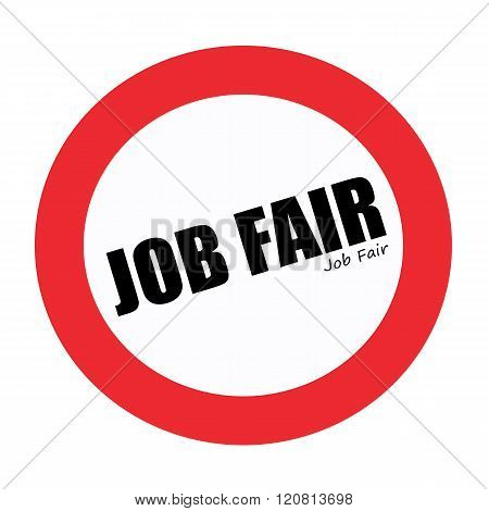 Job Fair black stamp text on white