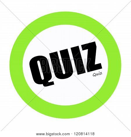 an images of QUIZ black stamp text on green