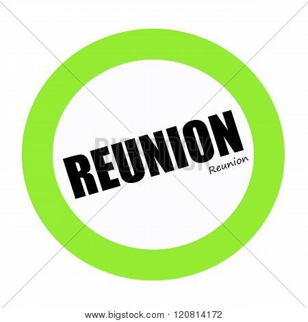 an images of REUNION black stamp text on white