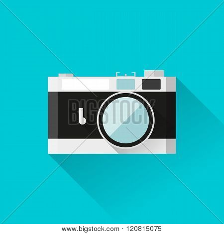 Vector eps10 illustration rangefinder film camera icon in flat style with long shadows