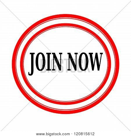 JOIN NOW black stamp text on white backgroud