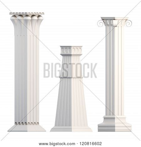 Set of columns isolated on white background. 3d rendering