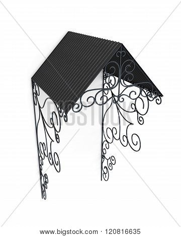 Wrought iron canopy isolated on white background. 3d rendering