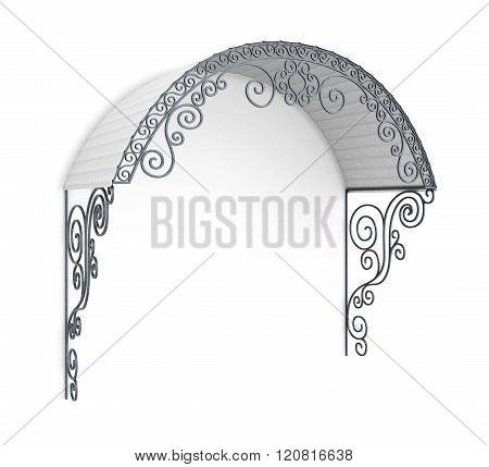 Wrought iron canopy isolated on white background. 3d illustratio