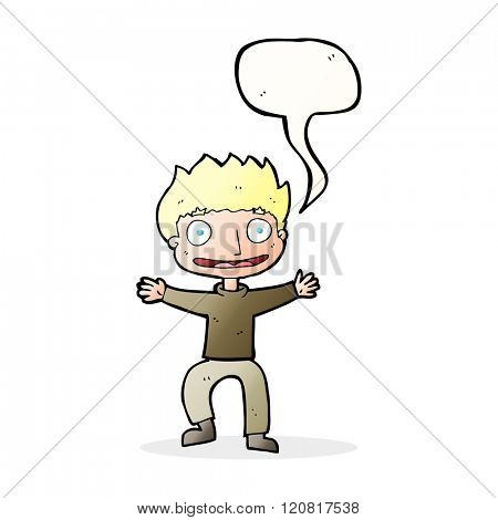 cartoon grinning boy with speech bubble