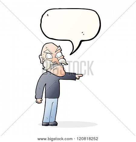 cartoon furious old man with speech bubble