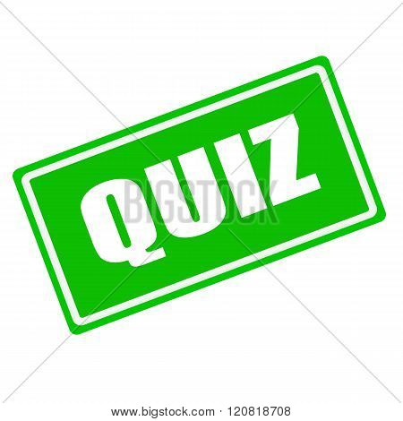 QUIZ white stamp text on green background