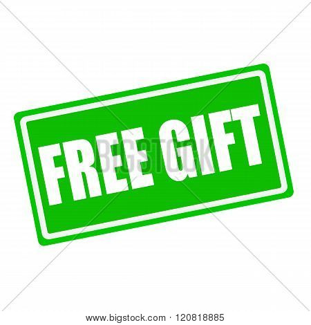 Free gift white stamp text on green background