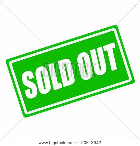 SOLD OUT white stamp text on green background