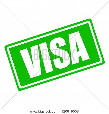 VISA white stamp text on green background