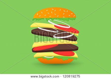 Falling hamburger