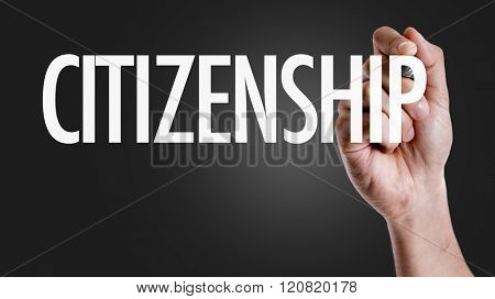 Hand writing the text: Citizenship