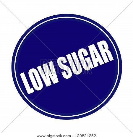 Low sugar white stamp text on blue
