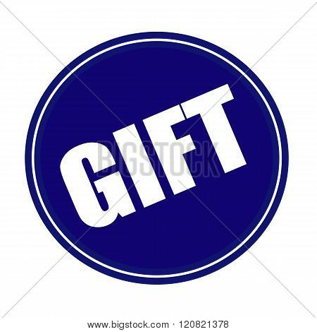 an images of Gift white stamp text on blue