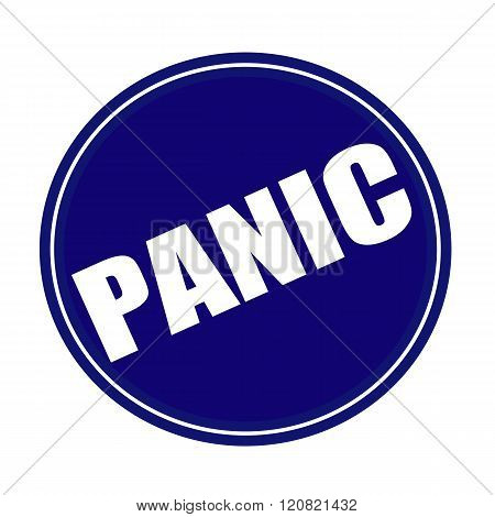 an images of Panic white stamp text on blue