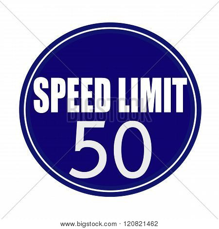 Speed limit white stamp text on blue