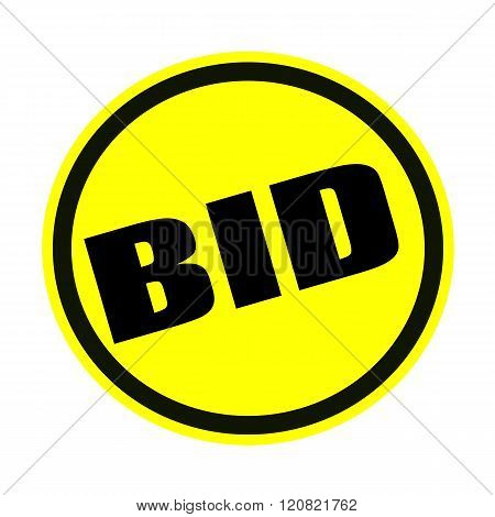 an images of BID black stamp text on yellow