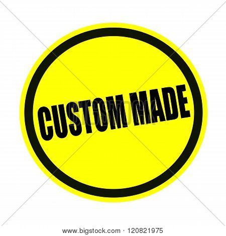 Custom made black stamp text on yellow