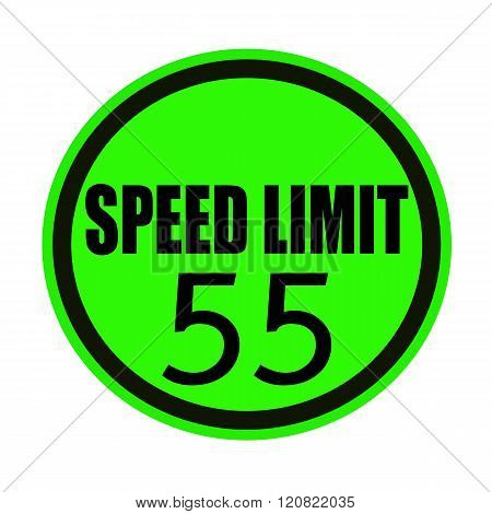 an images of Speed limit 55 black stamp text on green