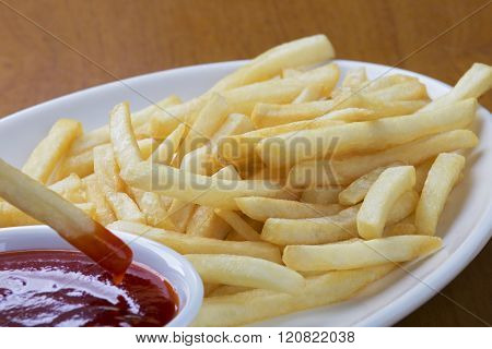Delicious Shoestring Style French Fries With Ketchup