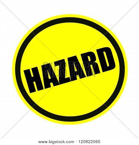 an images of Hazard black stamp text on yellow