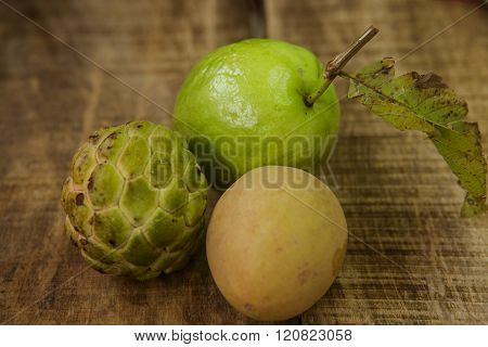 Closeup Guava Sugar-apple Sapodilla On Brown Table
