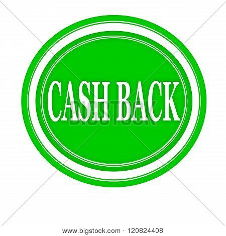 Cash back white stamp text on green