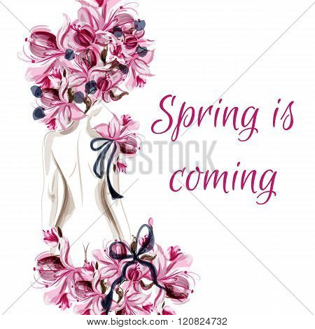 Background With Female Back Silhouette And Pink Flowers Spring Is Coming