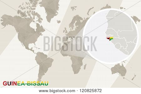 Zoom On Guinea-bissau Map And Flag. World Map.