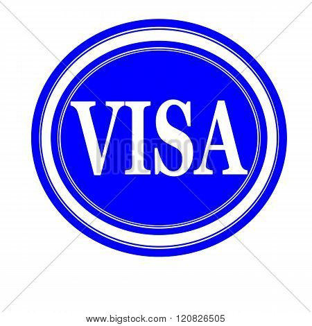 an images of VISA white stamp text on red
