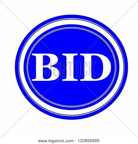an images of BID white stamp text on blue