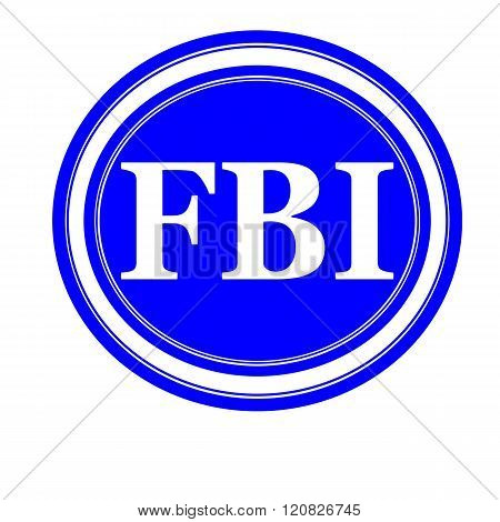 FBI white stamp text on blue background
