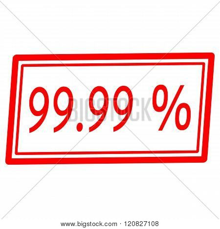 99.99 percent red stamp text on white