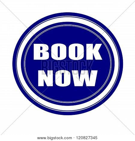 Book now white stamp text on blueblack