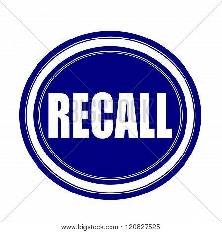 an images of Recall white stamp text on blueblack