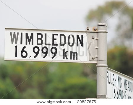 Sign Stating Distance From Sign To Wimbledon, One Of The 4 Tennis Grand Slam Locations, Melbourne 20