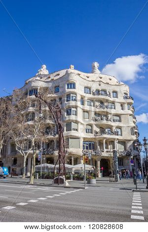Front Of The Casa Mila In Barcelona