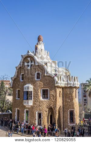 Entrance House At Park Guell In Barcelona