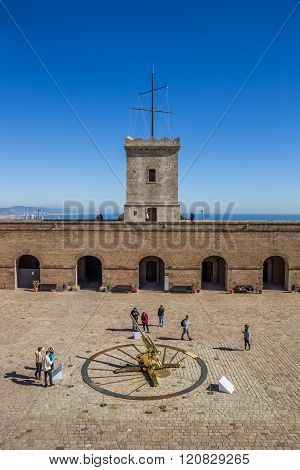 Courtyard Of The Montjuic Castle In Barcelona