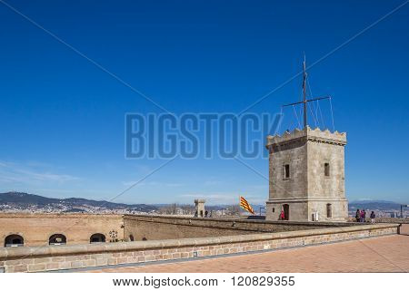 Tower Of The Castle Montjuic In Barcelona
