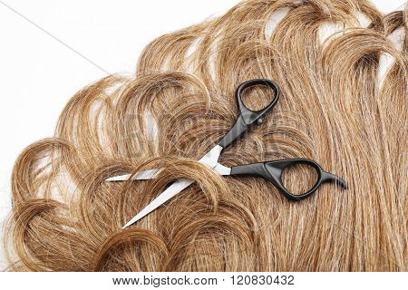 Hairdresser's scissors with brown hair, isolated on white
