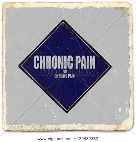 Chronic Pain white stamp text on blue black background