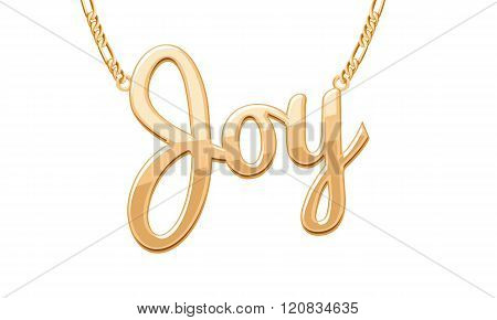 Golden JOY word pendant on chain necklace.
