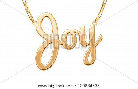 Golden JOY word pendant on chain necklace.