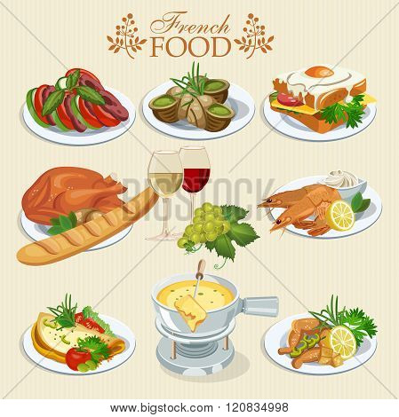 National food of France. Icons for menu.