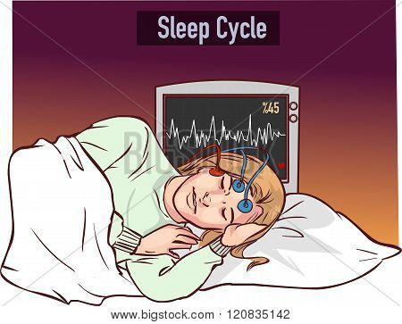 vector illustration of a young girl sleeping and Sleep cycle graph